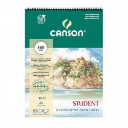 Blok Canson STUDENT rysunkowy na spirali 160g.A3