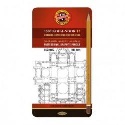 Ołówki Techniczne Koh-I-Noor kpl.12 HB-10H