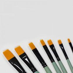 Pędzel złoty syntetyk płaski-02 rączka zielona