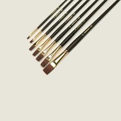 Pędzel mahoń syntetyk płaski-06 długa rączka brąz