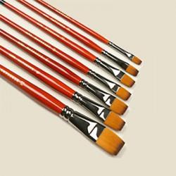 Pędzel syntetyk złoto-brąz płaski-12 r.pomarańcz